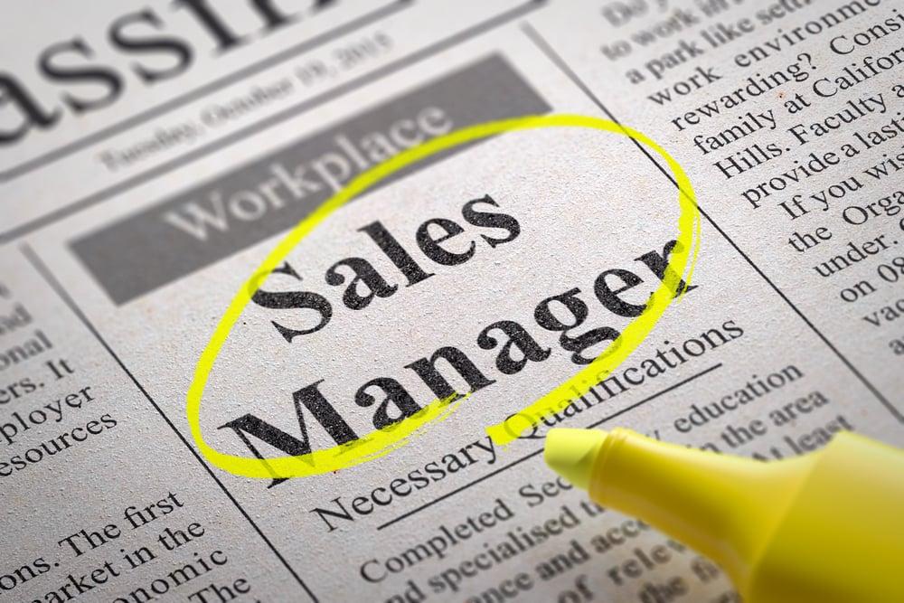 Sales Manager Jobs in Newspaper. Job Seeking Concept.-1